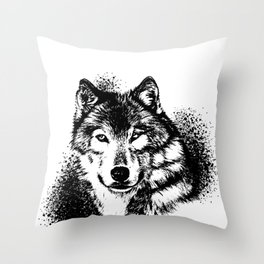 Wolf Beast Canine Brute Guzzle Mammal Animals Gift Throw Pillow