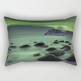 Aurora borealis over a beach on the Lofoten in Norway Rectangular Pillow