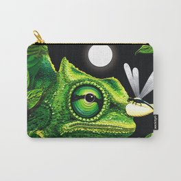 Chameleon and Dragonfly on Moonlight Carry-All Pouch