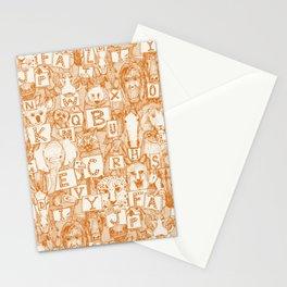 animal ABC orange ivory Stationery Cards
