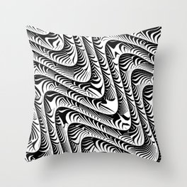Black and White Serpentine Pattern Throw Pillow