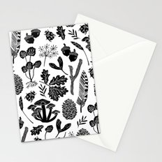 Linocut minimal botanical boho feathers nature inspired scandi black and white art Stationery Cards