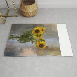Five Sunflowers Centered Rug