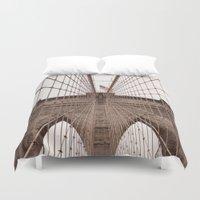 brooklyn bridge Duvet Covers featuring Brooklyn Bridge by Marose Photo