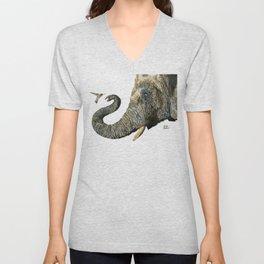 Elephant Cyril And Hummingbird Ayre Unisex V-Neck