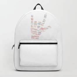 ASL I love you in different languages design ASL Love sign Backpack