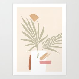 Tropical abstraction, mix of leafs and shapes Art Print