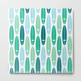 Vintage Surf Boards in Turquoise, Teal and Blue Metal Print
