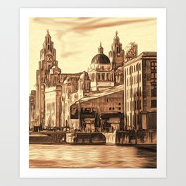World famous Three Graces (Digital painting) Art Print