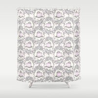 cake Shower Curtains featuring Cake by Paper Bicycle