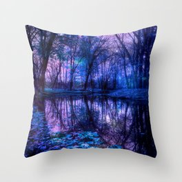 Enchanted Forest Lake Purple Blue Throw Pillow