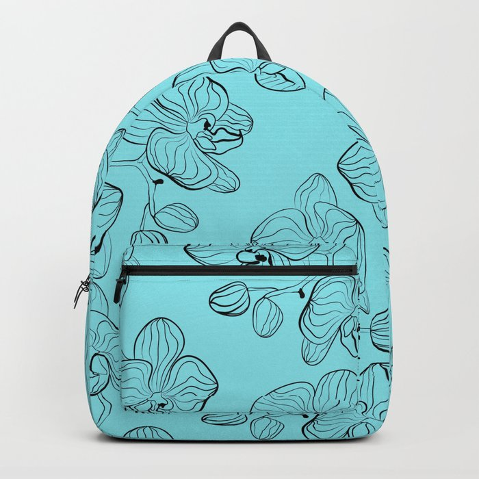 Retro . Orchid flowers on a heavenly blue background . Backpack