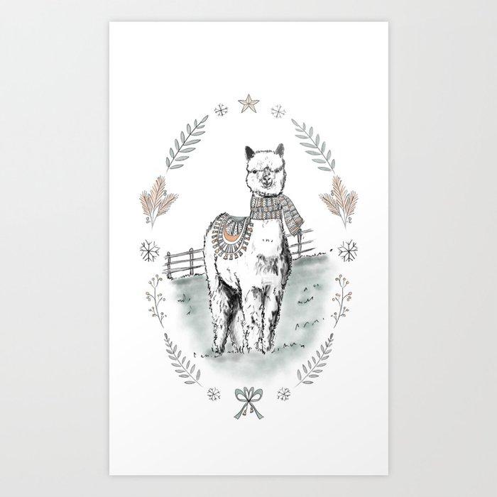 Christmas Alpaca / Winter Alpaca / Winter Animal / Alpaca with Scarf / Christmas Animal Art Print