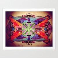 mandala Art Prints featuring Mandala by Aaron Carberry