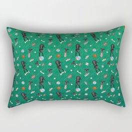 Black Greyhounds Playground Pattern - Shoes and Toys - Green Theme Rectangular Pillow