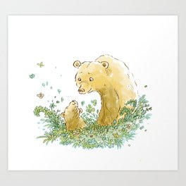 Mother and Baby Bear in the leaves Art Print
