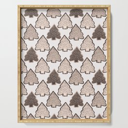 Winter Rustic Fir Tree Lino Cut Texture  Sketchy Serving Tray