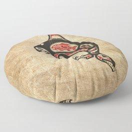 Red and Black Haida Spirit Killer Whale Floor Pillow