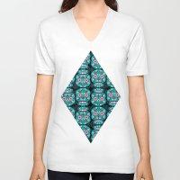 sugar skulls V-neck T-shirts featuring Sugar Skulls Pattern by Spooky Dooky