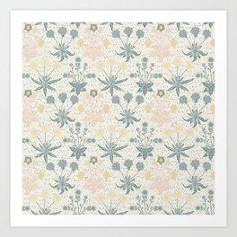 Vintage Floral & Plants Pattern Art Print
