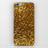 gold glitter iPhone & iPod Skins featuring GOLD GLITTER by I Love Decor