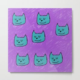 Cute Cats in blue Metal Print