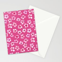Loose pink flowers in hot pink background Stationery Cards