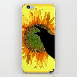 BLACK CROW-RAVEN YELLOW SUNFLOWER FLORAL ART iPhone Skin