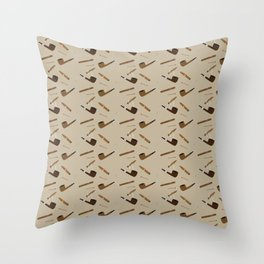 Pipe and Cigar pattern Throw Pillow