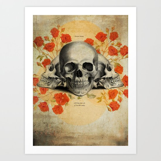 I Became Insane... Edgar Allan Poe Skull Print Art Print