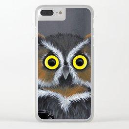 Caffeine Owl Clear iPhone Case
