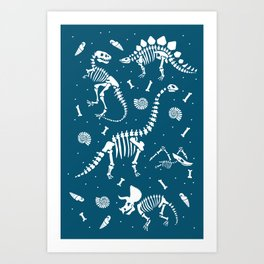 Dinosaur Fossils in Blue Art Print