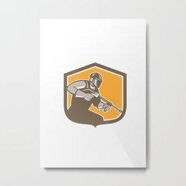 Pressure Washer Cleaner Worker Shield Retro Metal Print