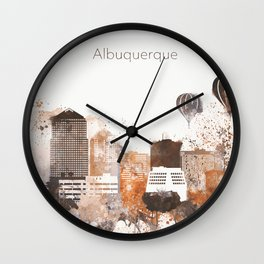 Brown Albuquerque skyline design Wall Clock