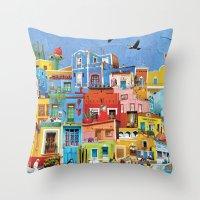mexico Throw Pillows featuring Mexico by Francesca Sacco