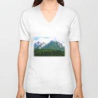 italian V-neck T-shirts featuring Italian Alps by Carlo Toffolo