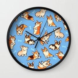 Jolly corgis in blue Wall Clock