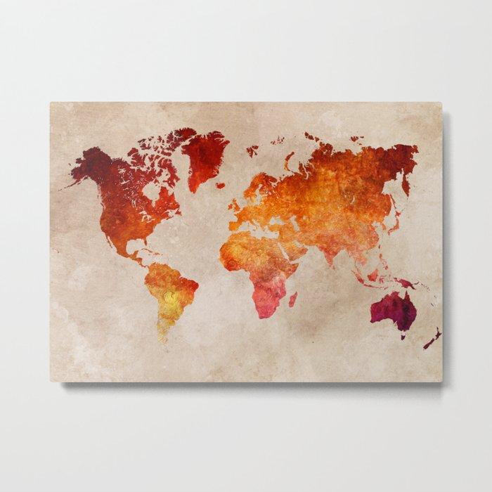Red World Map Metal Print