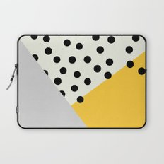 Mod Dots - yellow and Gray Laptop Sleeve