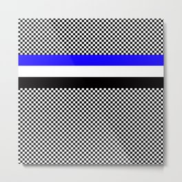 Checkers white black and blue Metal Print