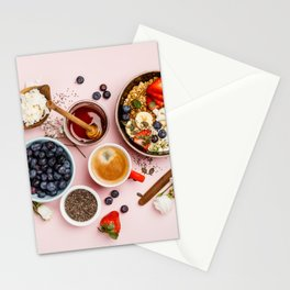 Heart made with Healthy breakfast set Stationery Cards