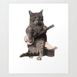 Cat Playing Banjo Guitar Art Print