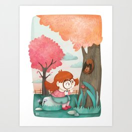 Giadina and the magnifying glass Art Print