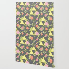 Garden of Power, Wisdom, and Courage Pattern in Grey Wallpaper