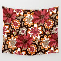 flower pattern Wall Tapestries featuring Flower Pattern by Eduardo Doreni