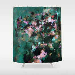 Contemporary Abstract Wall Art in Green / Teal Color Shower Curtain