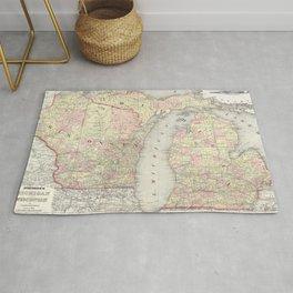 Vintage Map of Michigan & Wisconsin (1862) Rug
