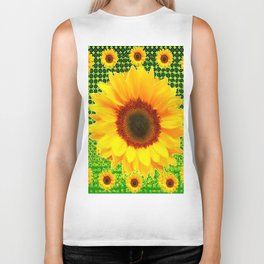 SPRING GREEN YELLOW FLOWERS GARDEN PATTERN Biker Tank