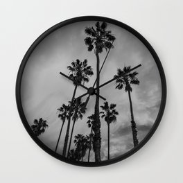 Black and White Los Angeles Palms Wall Clock
