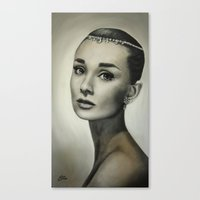 audrey hepburn Canvas Prints featuring Audrey Hepburn by Claire Lee Art